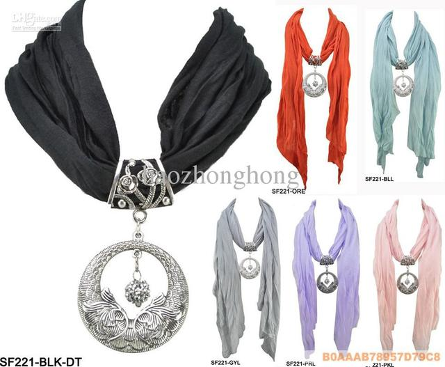 Wholesale diy circle pendant scarf womens charming jewelry scarves wholesale diy circle pendant scarf womens charming jewelry scarves necklace fashion jewellery mix 12 pcs mozeypictures Choice Image