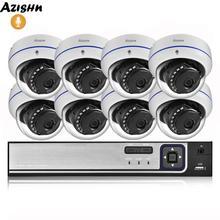 AZISHN 4MP H.265 8CH NVR POE sistema de seguridad del hogar 4MP 3MP grabación de Audio Metal vídeo de exterior vigilancia cámara domo IP Kit ONVIF