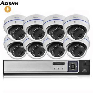 Image 1 - AZISHN 4MP H.265 8CH POE NVR домашняя система безопасности 4MP 3MP аудио запись металлическая наружная камера видеонаблюдения IP купольная камера комплект ONVIF
