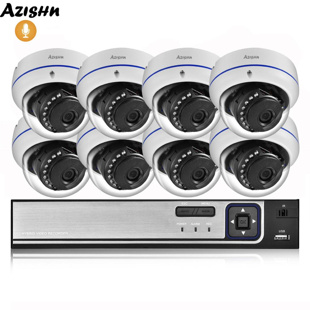 AZISHN 4MP H.265 8CH POE NVR Home Security System 4MP 3MP Audio Record Metal Outdoor Video Surveillance IP Dome Camera Kit ONVIF