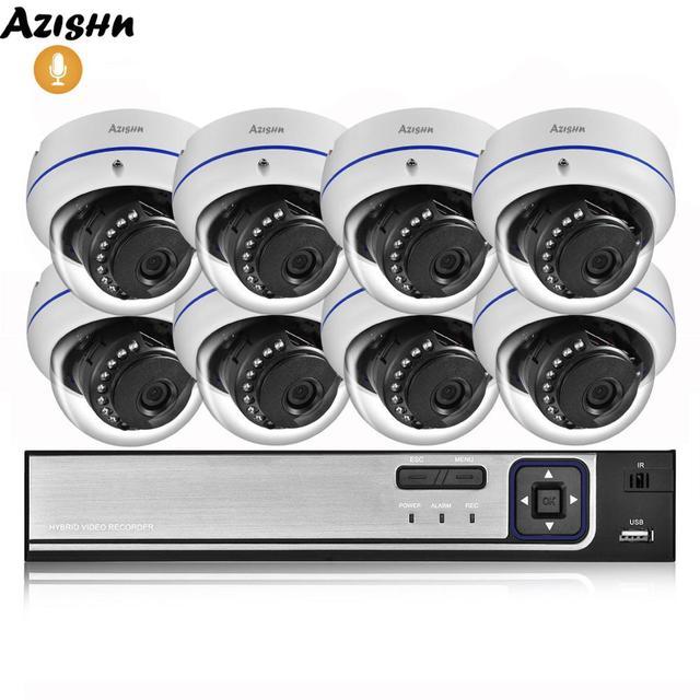 AZISHN 4MP H.265 8CH POE NVR Sistema di Sicurezza Domestica 4MP 3MP Registrazione Audio Metallo Outdoor di Video Sorveglianza IP Della Cupola Della Macchina Fotografica kit ONVIF