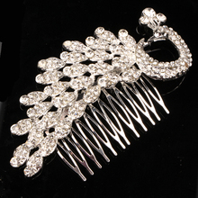 Full Rhinestone Crystal Peacock Hair Comb Wedding Bridal Tiara Brides Hair Jewelry Accessories
