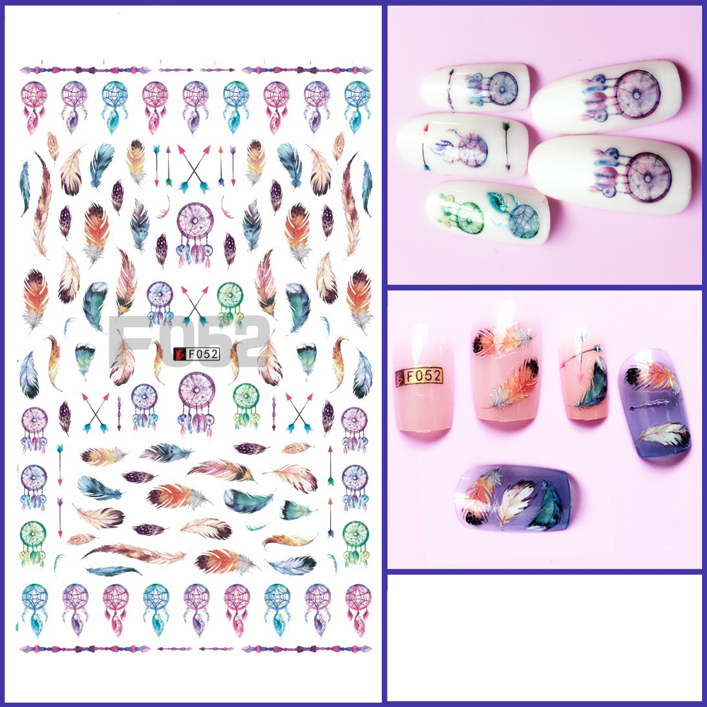 1pcs 3D Super Thin Nail Stickers Tips Nail Art Adhesive Decals Manicure Decoration Indian Arrow Bird Feather Wraps F052 138designs hot nail art stickers 100sheet adhesive nail tips polish decals wrap patch finger nail manicure decoration tools