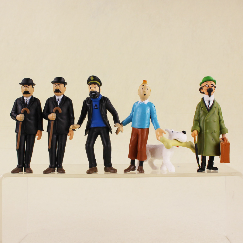 6pcs/lot Cosplay 4-9cm cartoon The Adventures of Tintin PVC Action Figures Model Doll Toys For Kids Gifts cosplay lol the might of demacia garen 21cm 8 3 pvc action figures model garage kit toys