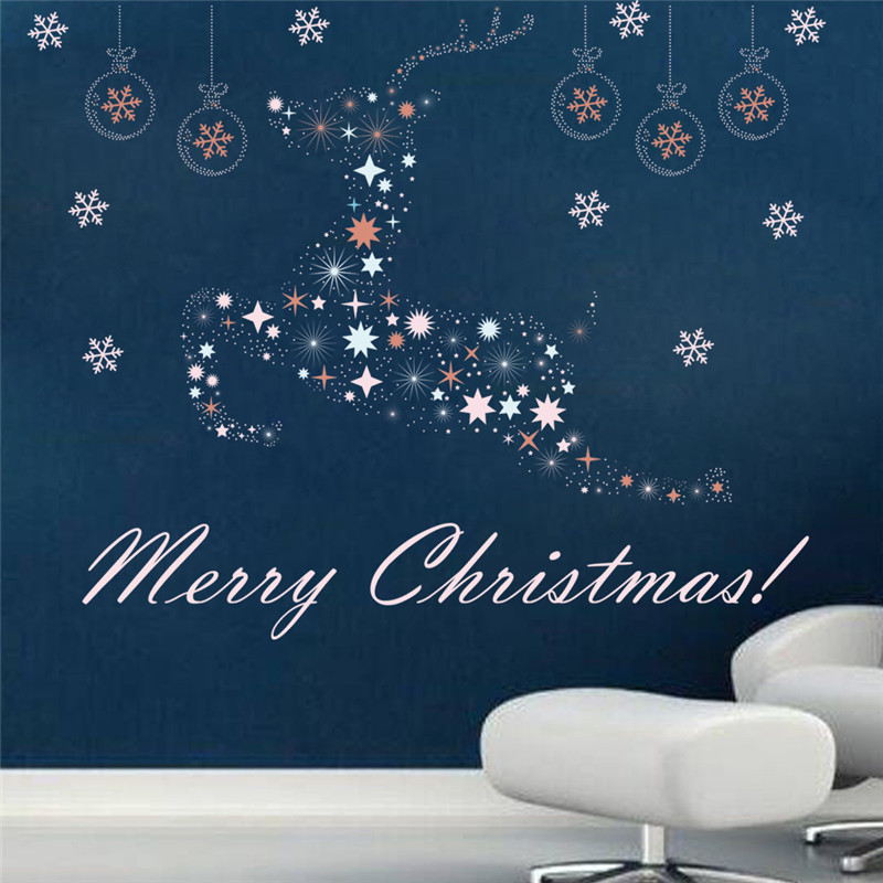 Bon * Merry Christmas Decoration Deer Snowflake Wall Sticker Decals Window  Party Store Window Decoration New Year Decor Poster Mural In Wall Stickers  From Home ...