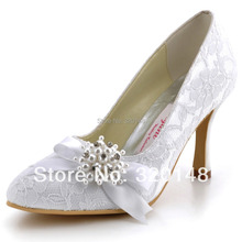 Free Shipping Women Lace Pumps  AJ001 White,Ivory Pointed Toe Rhinestone Pearls Bow Lace Wedding Evening Party Pumps Shoes