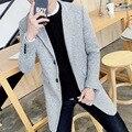 """2016 новый мужской осень зима мода Slim Мужчин """"с Корейской версии тенденция пальто сплошной цвет все-матч удобные длинные пальто М-5XL"""