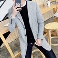 """2016 nova outono inverno moda Slim Homens dos homens """"s versão Coreana tendência casaco cor sólida todo o jogo confortável longo casaco M-5XL"""