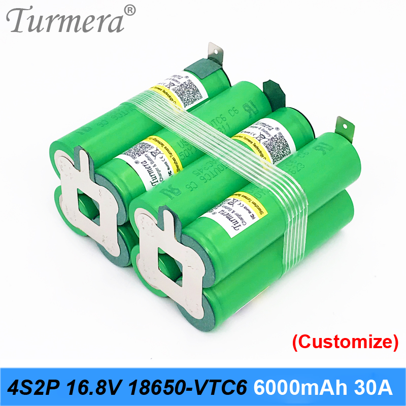 4s2p 16.8v 14.4v <font><b>18650</b></font> <font><b>battery</b></font> pack us18650vtc6 <font><b>6000mah</b></font> 30a welding <font><b>battery</b></font> for screwdriver tools <font><b>battery</b></font> customized <font><b>battery</b></font> JU1 image