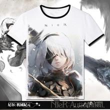 2017 spiel NieR: Automata 2B YoRHa No. 2 Typ B Heroine Cosplay Schwarz Oansatz Kurzarm T-shirts Casual Print Tops Herren Tees