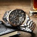 KINYUED Роскошные модные брендовые автоматические часы, мужские механические часы с турбийоном и скелетом, мужские часы с вечным календарем 2018