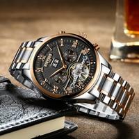 KINYUED Luxury Fashion Brand Automatic Watch Men Skeleton Tourbillon Mens Mechanical Watches Perpetual Calendar Male Clock 2018