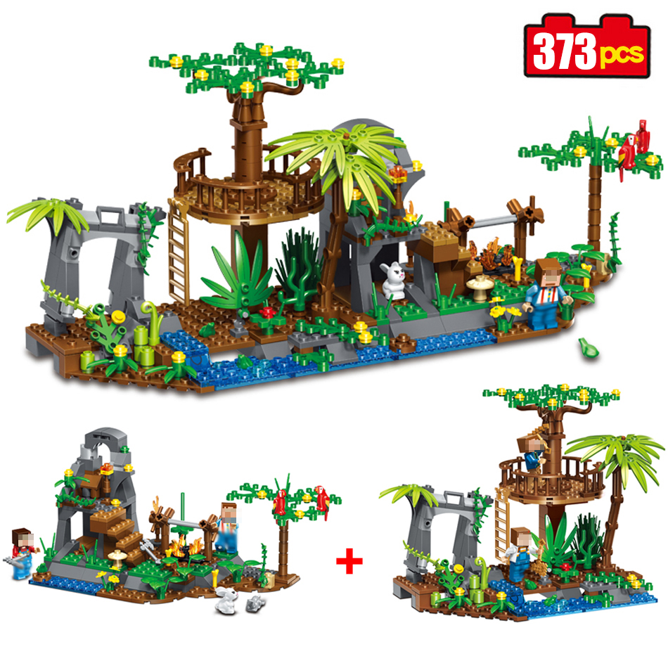 373pcs village forest camping Building Blocks set Compatible Legoed Minecrafted Model bricks enlighten toys for children friends lepin 22001 pirate ship imperial warships model building block briks toys gift 1717pcs compatible legoed 10210