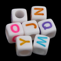3000PCs/Bag Alphabet Acrylic Beads for making diy Jewelry Bracelet necklace with letter pattern 6x6mm Hole:Approx 3mm