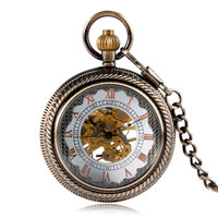 Classic Roman Numbers Mechanical Copper Pocket Watch Chain Steampunk Luxury Bronze Fob Fashion Pendant Transparent Cover