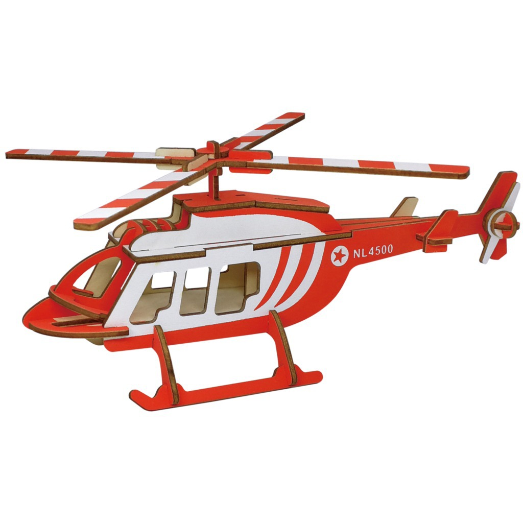 Laser Cutting 3D Wooden Puzzle Jigsaw Military Helicopter DIY Assembly Kids Educational Wooden Toys For Children Boys
