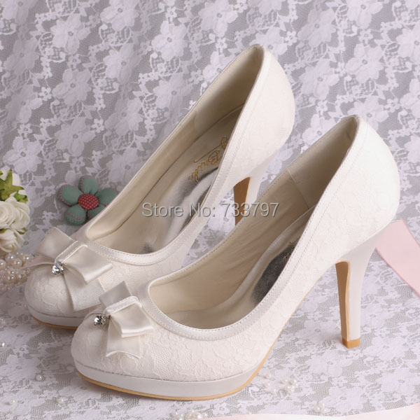 New Style Elegant Ivory Lace High Heel Wedding Shoes Bridal