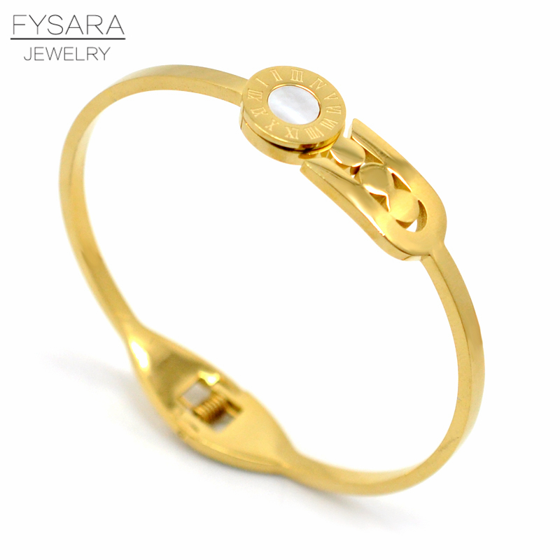 FYSARA 361L Stainless Steel Roman Numerical Cuff Bracelets & Bangles For Women Pin Pulseiras Shell Fashion Jewelry Gift