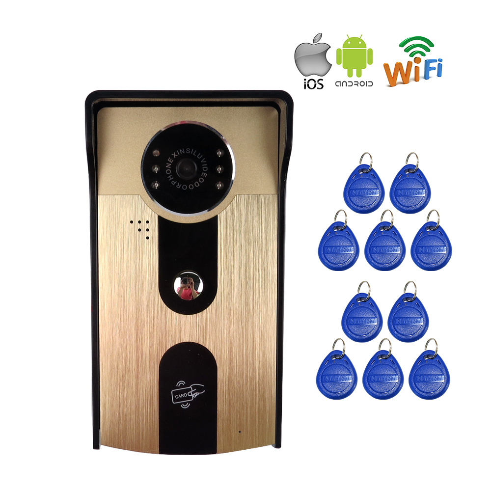 FREE SHIPPPING NEW RFID Access Wireless Network Wifi Video Door Phone Doorbell Intercom Waterproof for Android IOS Mobile Phone free shippping rfid access wireless lan wifi video door phone intercom metal outdoor bell camera for android ios phone tablet