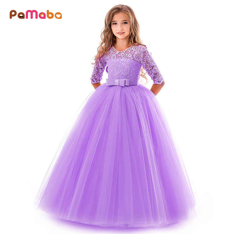 a44720d41fdc PaMaBa Deluxe Girls Christmas Dress Kid Party Wear Frocks Clothes Lace 3/4  Sleeve Floor