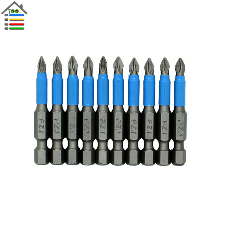 все цены на New 10pc PZ1 50mm Hex Shank Anti Slip Phillips Electric Screwdriver Bit Set Magnetic Tips Power Tool Accessories