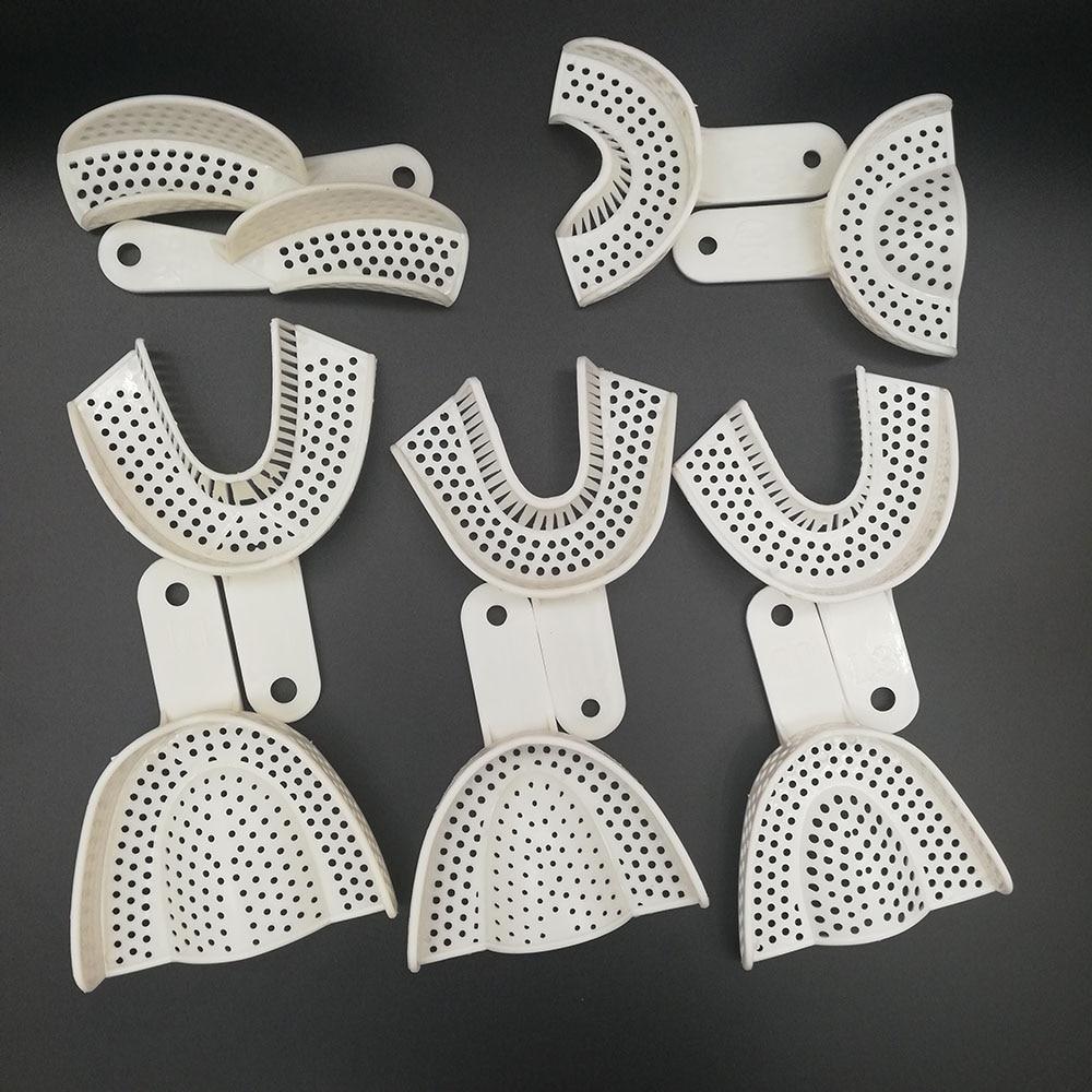 5 paires Impression dentaire plateaux en plastique sans maille plateau dentisterie laboratoire matériel dents support plateaux dentiste outils