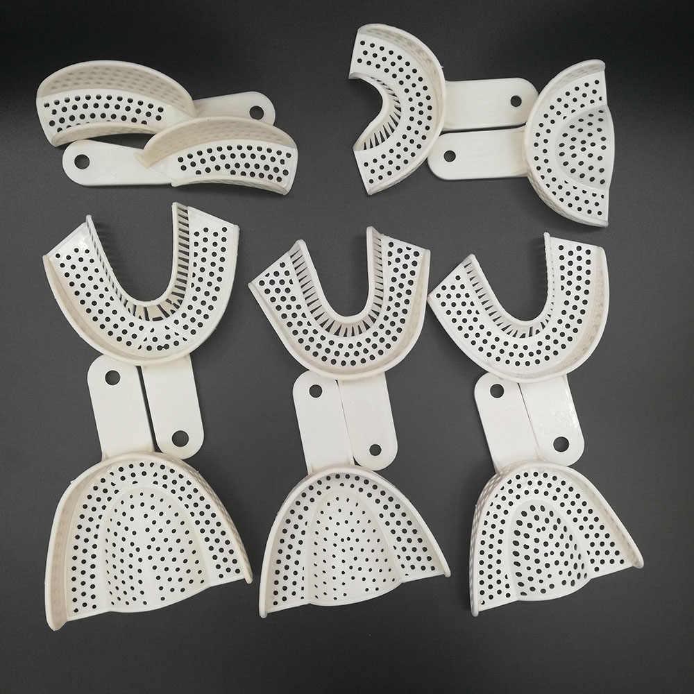 5 זוגות שיניים רושם פלסטיק מגשי ללא רשת מגש רפואת שיניים מעבדה חומר שיניים מחזיק מגשי כלים רופא