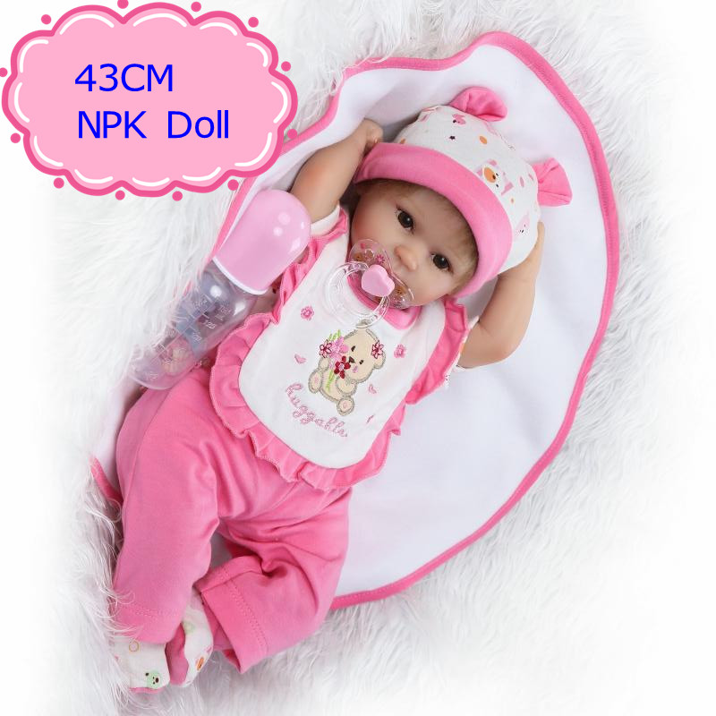 купить 43cm ,18inch Realistic New Born Baby Doll With Pink Newborn Baby Doll Clothes The Living Baby Doll For New Mother To Practice недорого
