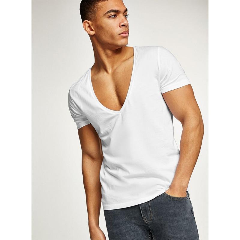 880e5fe73dbb New Sexy Mens Deep V Neck Bottoming Shirt Solid Color Short Sleeve T Shirt  Fashion Men