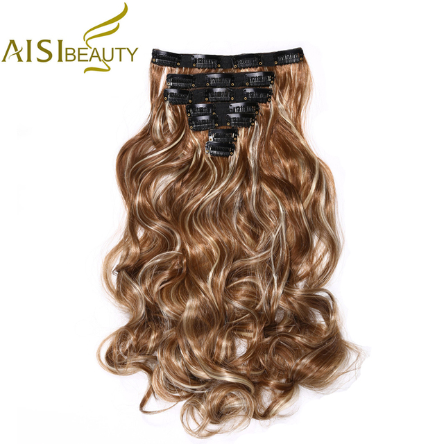 """AISI BEAUTY 20"""" 14 Colors High Temperature Fiber Synthetic Full Head Clip in Curly Hair Extensions for Women"""