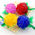 Candice guo! New arrival hot sale 3D crystal puzzle rose flower model DIY funny game creative gift 1pc
