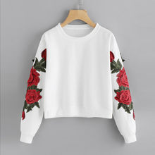 a6b78b0e (Ship from US) feitong Rose Embroidery Sweatshirt Women Vintage Black Long  Sleeve Autumn Pullover 2019 New Applique Casual O Neck Sweatshirt
