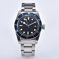 mens automatic watches 41mm watch network steel case Mineral glass hands luxury blue bezel a1