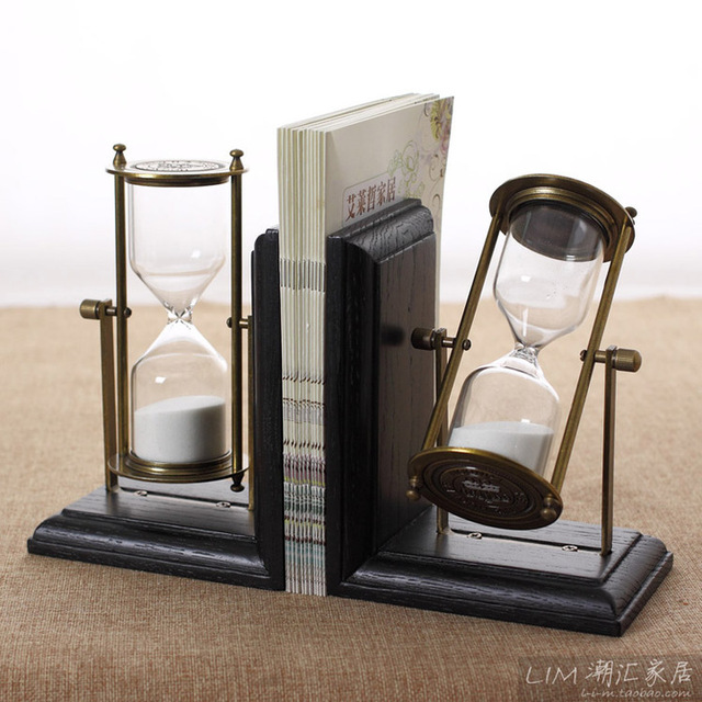 room desktop decoration european wood hourglass bookends books by