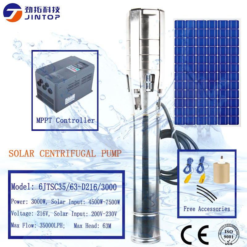 (Modèle 6JTSC35/63-D216/3000) JINTOP pompe solaire système d'alimentation 3kw ne jamais vendre de pompes renouvelées solaire submersible 216 v dc pompe à eau