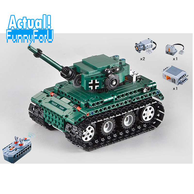 Military Weapons Technic Creator 51018 313PCS RC Tiger 1 Tank Building Blocks Bricks tamiya toys for children gifts brinquedos c51018 german tiger tank rc 313pcs building blocks toys for children compatible legoings technic weapon