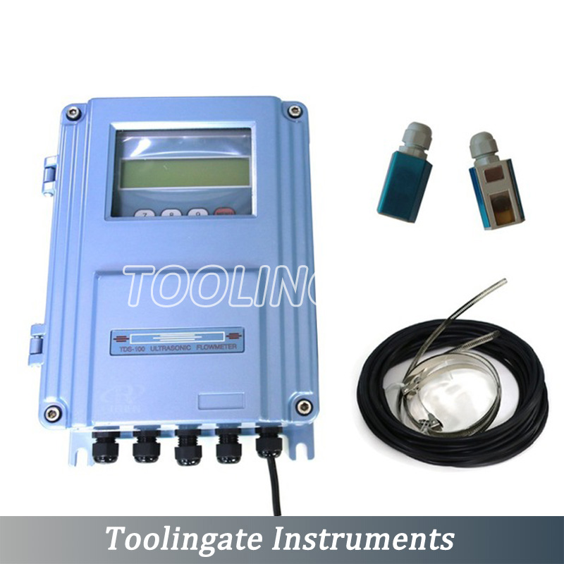 New fixed TDS 100F ultrasonic liquid flow meter with S2 Transducer DN15mm 100mm Wall Mount Clamp on flowmeters in Flow Meters from Tools