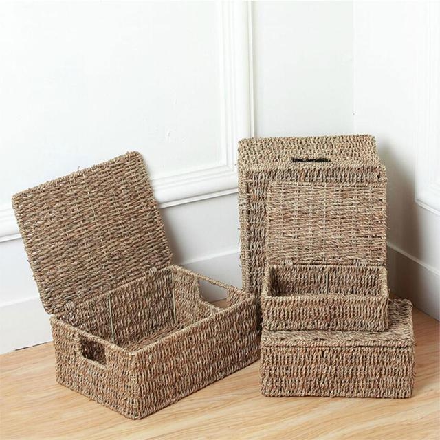 Natural Seagrass Storage Basket With Lid And Handles Vintage Tissue Box  Sundries Storage Basket