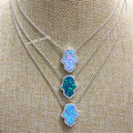 Micro Pave Inlaid AAA CZ Stone 925 Sterling Silver Synthetic Fire Opal Fatima Hand/Hamsa Necklace for Gifts
