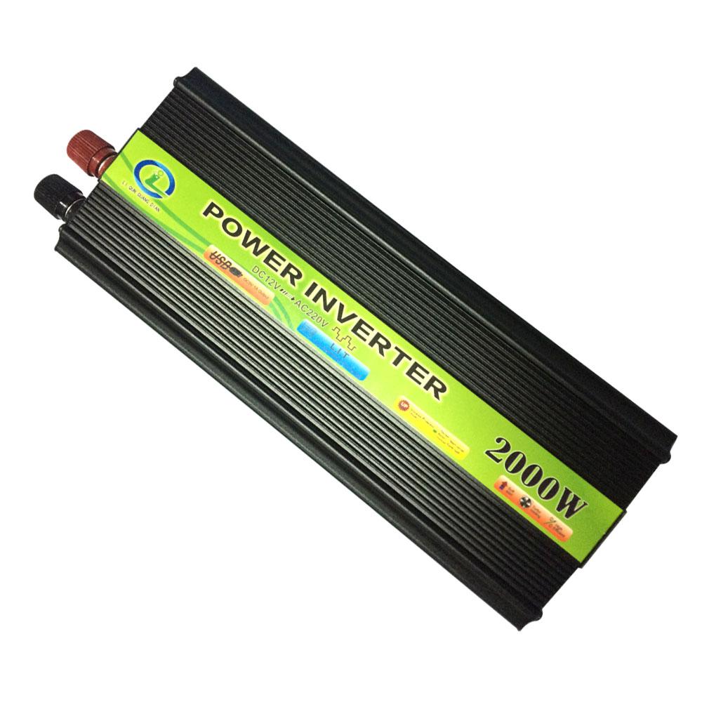 Prix pour 2000 W Onduleur De Voiture Véhicule Tension Inverseur USB DC 12 V à AC 220 V Power Inverter Adaptateur Convertisseur De Voiture Voyage Convertir 12 B 220 B