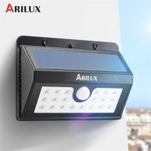 ARILUX AL-SL02 Wireless 20 LED Solar Light Outdoor LED Garden Light Waterproof PIR Motion Sensor Solar Powered Pathway Wall Lamp
