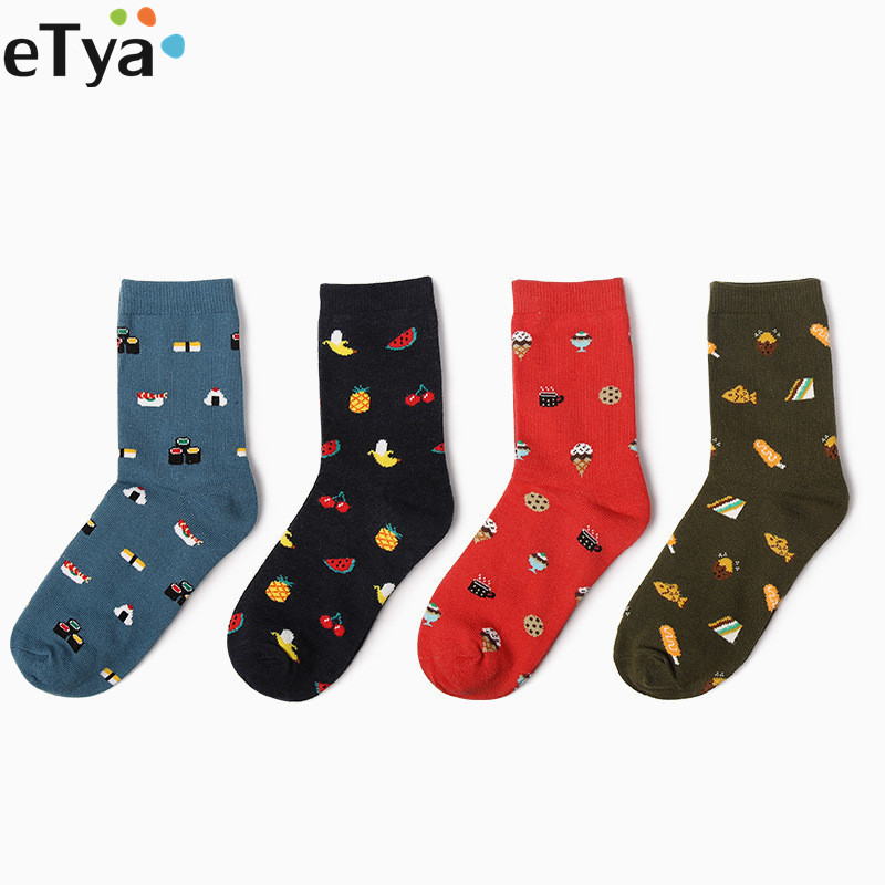 ETya Casual Cartoon Cute Food Cat Women Short Socks Fashion Cotton Female  Socks Ankle Socks