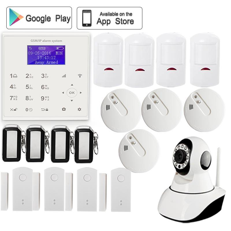 WiFi GSM Wireless for Home Shop Office House Sucerity Anti-theft Alarm System with Wireless Smoke Detector APP Camera Security etiger gsm pstn intruder alarm system for home office wifi network camera ir beam detector 100m