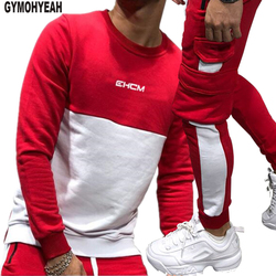 GYMOHYEAH 2018 Autumn New Splice Tracksuit Men Casual Hooded Clothing Basic Stripe Pant Homme Clothes Fashion streetwear Sets