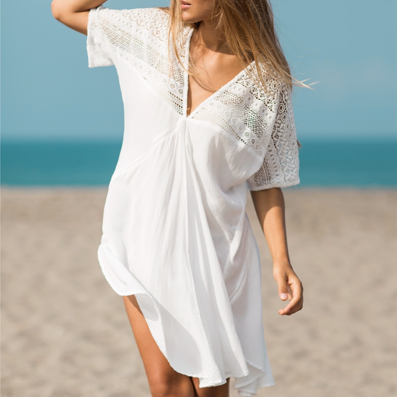 New cotton blend rayon deep V lace short sleeved irregular patterns white loose beach tunics dress bikini cover up pareo sarong army green lace up design v neck cold shoulder irregular hem dress