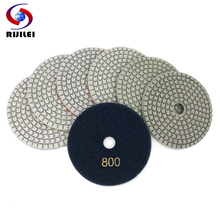 RIJILEI 7PCS/Set 4inch White Diamond Polishing Pads 100mm Wet Flexible polishing pad for Stone concrete floor Abrasive HC16