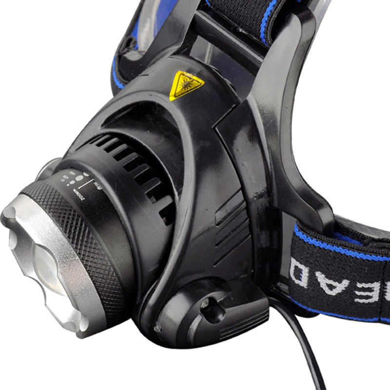 LED XM-L T6 رقائق المصباح كشافات قابلة للشحن التكبير رئيس ضوء مصباح 2x18650 بطارية + شاحن سيارة + DC شاحن مصباح يدوي