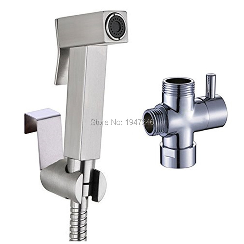 Handheld Bidet Set Shattaf Cloth Diaper Stainless Steel Sprayer Combo Set for Toilet with Brass T adapter and Hose