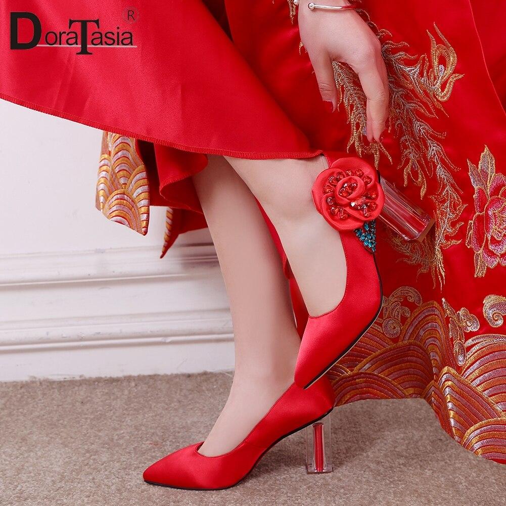 DORATASIA Bridesmaid Shoes Platform Wedding-Pumps Chunky-Heels Slip on Women 32-42 Large-Size