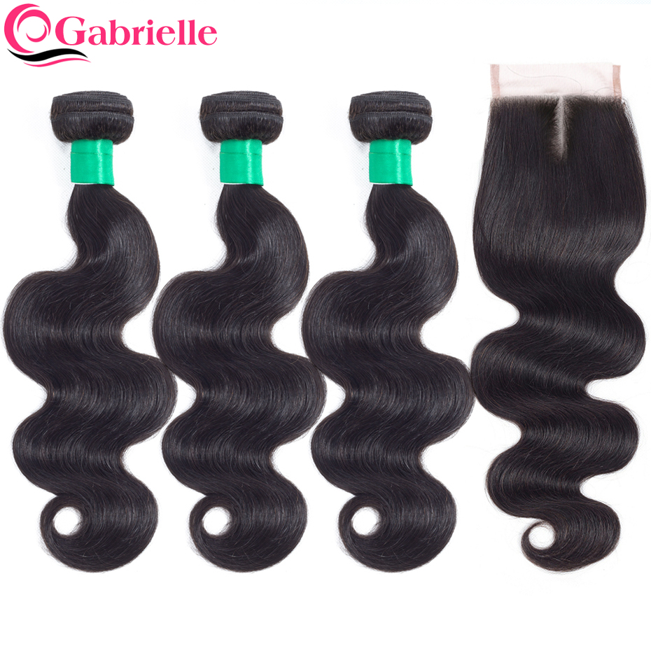 Gabrielle Hair Brazilian Body Wave Hair 3 Bundles with Closure Natural Color 100 Non remy Human